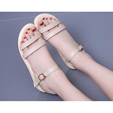SHOES-XJIH&Uomini sandali di convergenza della luce ad anello suole similpelle Estate Casual tacco piatto kaki marrone chiaro appartamento blu,blu,US7 / EU39 / UK6 / CN39