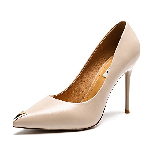 Women Pumps Thin Heels Autumn Spring Office   Career Metal Decoration Pointed Toe High Heels Beige 5