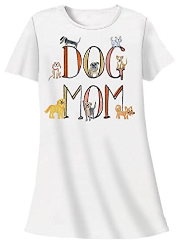 Nightshirt All Cotton Dog Mom,White,One Size
