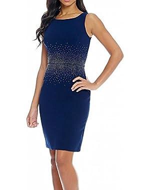 Calvin Klein Twilight Women's Embellished Sheath Dress Blue 8