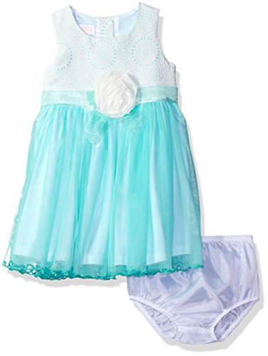 Bonnie Baby Baby Girls' Sleeveless Ballerina Party Dress with Panty, Aqua, 6-9 (Fancy Baby Panties)