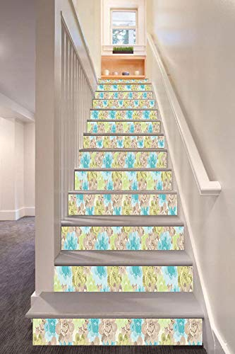 Brown and Blue 3D Stair Riser Stickers Removable Wall Murals Stickers,Abstract Foliage with Watercolor Style Vintage Nostalgic Flora Decorative,for Home Decor 39.3