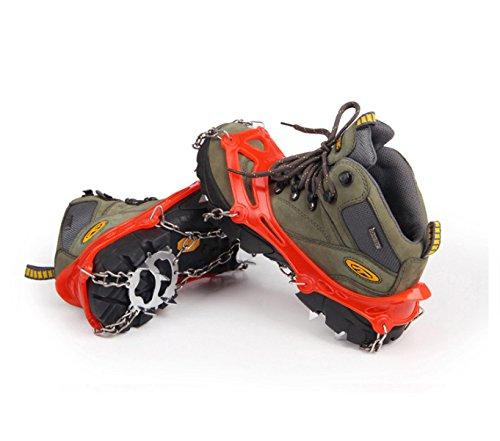 Griffe 12 Zähne Krallen Steigeisen Anti-Rutsch-Universal Stretch Schuhe Abdeckung Edelstahl Kette Outdoor Ski Eis Schnee Wandern Klettern (2 Stück)