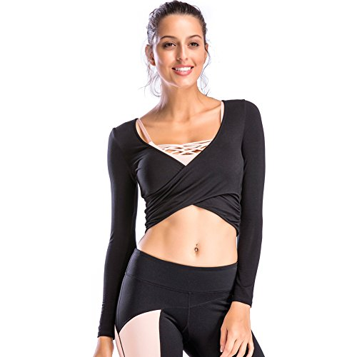 Long Sleeve T-shirt Wrap (Move With You Women's Deep V Neck Long Sleeve Yoga Shirts Unique Cross Wrap Slim Fit Crop Tops)