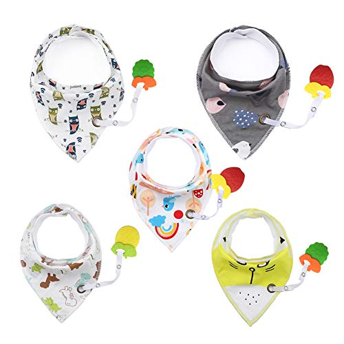 Baby Bandana Bibs with BPA Teether - Drool Bibs Set for Teething Toddler, Idea Gift for New Baby, 0-6 Months,6-12 Months,1-3 Years (5pack)