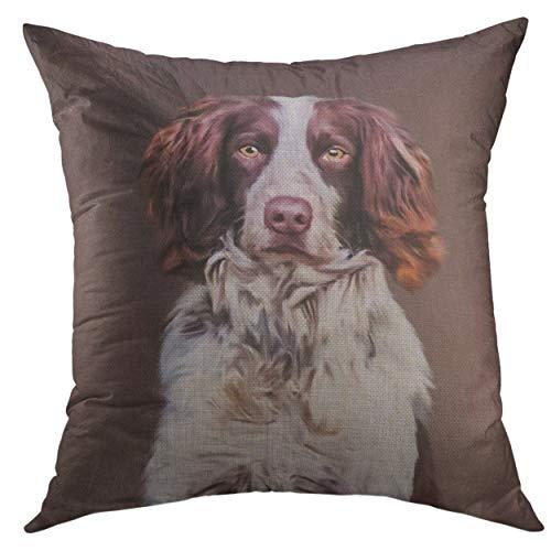 Mugod Throw Pillow Cover English Springer Spaniel Dog Oil Painting Portrait Home Decor Pillow case 18x18 - Springer Spaniel Pillow