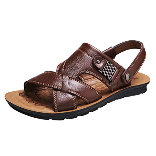 Corriee Fisherman Genuine Leather Breathable Sandals Mens Adjustable Breathable Shoes Summer Beach Walking Slippers Brown