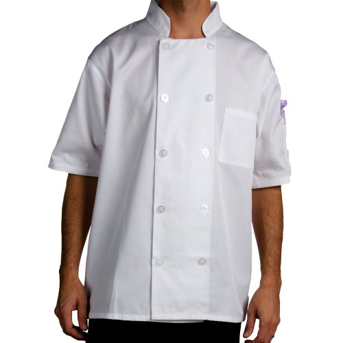 Twill Chef Coat, Double Breasted, Short Sleeve, White, 3X