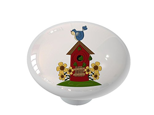Birdhouse Cabinet Knob - Bluebird Birdhouse Ceramic Drawer Knob