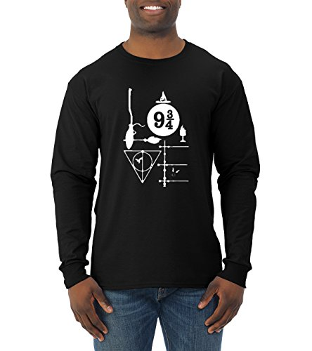 Work Tee Graphic Best (Wild Bobby Harry Potter Fan | Love Design | Mens Pop Culture Long Sleeve Tee Graphic T-Shirt, Black, Small)
