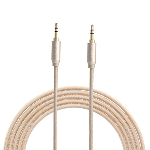 [Aux Cable, CableCreatio 3.5mm Audio Stereo Cable 6 Feet, Aux 3.5 Audio Cord for iPhones, iPads, Samsung and other 3.5mm DC plug Port Device, 1.8 Meters, Gold Braided and Aluminum] (Gold Double Cable)