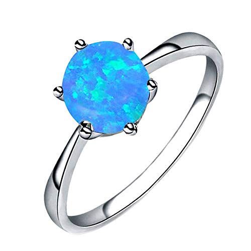 HUAMING Hot!Opal Ring Fashion Women Jewelry Filled Wedding Six Claw Thin Ring Clothing Must Have (Blue, 7) ()