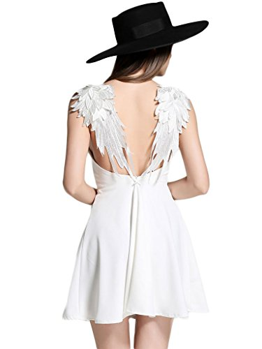 PERSUN Women's White Skater Dress Plunge V-Neck Angel Wing Open Back Party Beach Mini Sundress,Medium