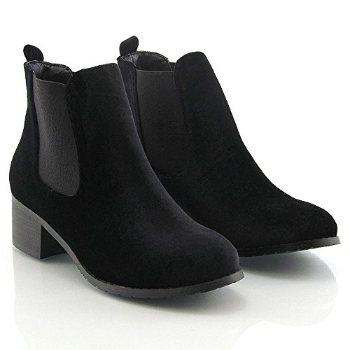 ESSEX GLAM Womens Chelsea Ankle Boots Low Chunky Heel Elasticated Synthetic Boots Black Velvet bimPciLUEo