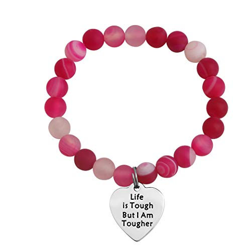 MAOFAED Cancer Survivor Gift Cancer Fighter Gift Life is Tough But I am Tougher Cancer Awareness Inspirational Gift Awareness Ribbon Charm Cancer Survivor Bracelet for Her (Cancer Survivor Bead)