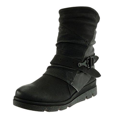 Angkorly - damen Reitstiefel Schuhe Stiefeletten - Biker - Reitstiefel damen Kavalier - Krokodil - Schlangenhaut - Schleife Keilabsatz 4 CM Schwarz ce0f2b