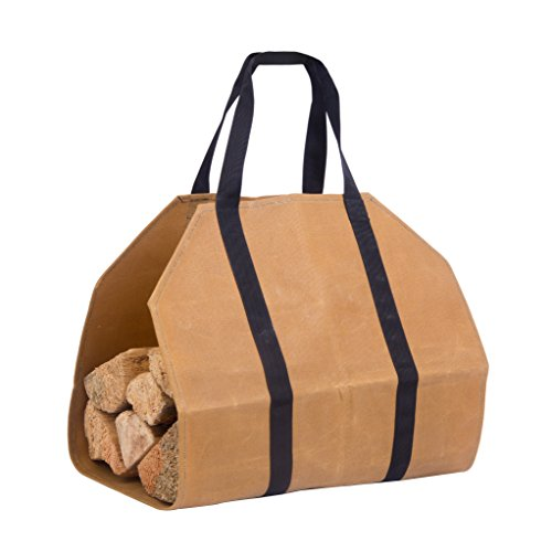 Large and Durable Waxed Canvas Firewood Log Carrier | Perfect to carry Firewood for the Fireplace, Beach or Campfire | Camping (Folding Log Carrier)