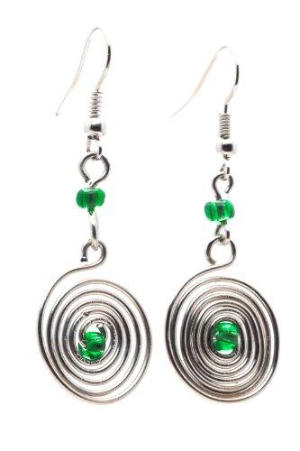 Fair Trade Glass (Maisha Fair Trade Wire Swirl with Center Glass Bead Drop Earrings, Green)