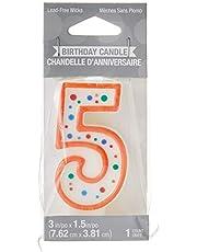 Creative Converting Polka Dot Numeral 5 Birthday Candle