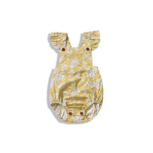 WOSENHIK Baby Girls Twins Floral Dress Newborn Girls Sleeveless Ruffled Romper Bodysuits Outfits (Vintage Yellow, 90/12-18 Months)