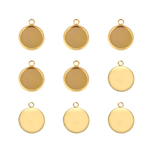 Lanbeide Stainless Steel Pendant Trays for Jewelry Making Finding Round Bezel 12x12mm 20pcs Gold