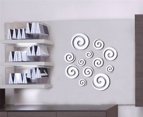 3D Mirror Spirals Decal Wall Sticker DIY Removable Art Mural Home Room Decor US 1