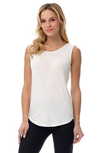Rekucci Women's Soft Jersey Knit Sleeveless Tank Top (S-XXL) (Medium,Ivory)