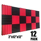 12 Pack Wedge RED/Black Acoustic Soundproofing Studio Foam Tiles 2'x12'x12'
