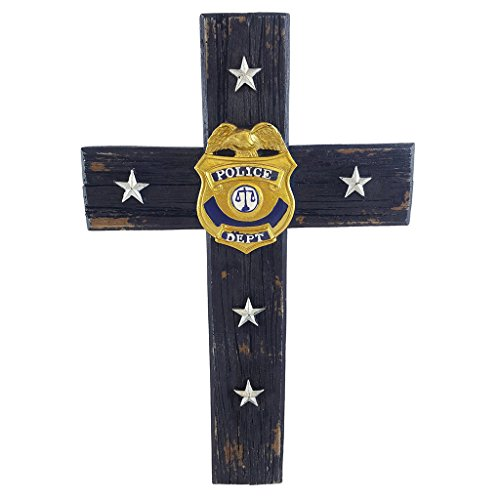 Pine Ridge Policeman Christian Cross Wall Decor - Police Officer Badge With 3D Department Golden Emblem Hanging Antique Figurines - Law Office Decoration Charm Gifts (Golden Cross Chart)