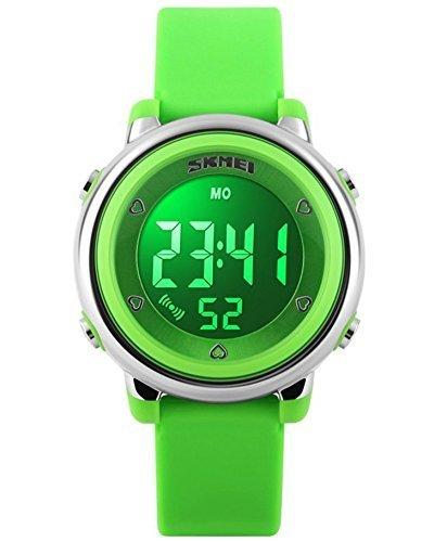 Skmei 1100 Original Fashion niños relojes banda de silicona pantalla LED resistente al agua Digital reloj verde: Amazon.es: Relojes