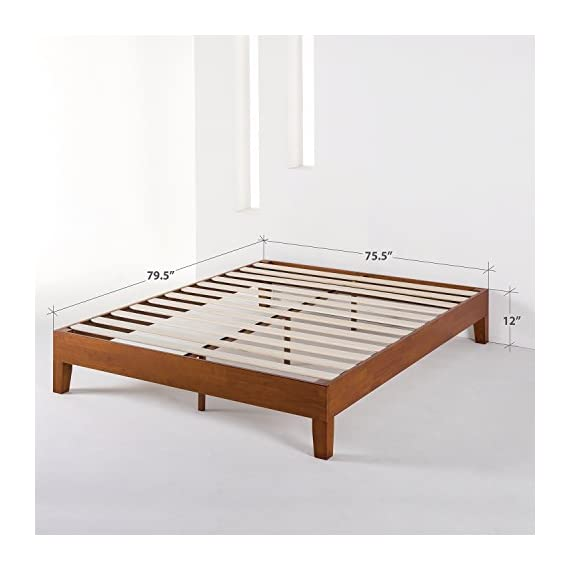 """Mellow Naturalista Grand - 12 Inch Solid Wood Platform Bed with Wooden Slats - No Box Spring Needed - King (Cherry) - King Bed Frame, 12"""" Solid Wood Platform Bed Frame w/GRAND Wooden Slat (No Box Spring Needed), Cherry, King Size Mid-Century Modern Style with 3.5 Inch Solid Wooden Frame for Better Durability Noise Free Construction with Non-Slip Tape on the Wooden Slat for Stability - bedroom-furniture, bedroom, bed-frames - 41xp6Z5j0NL. SS570  -"""