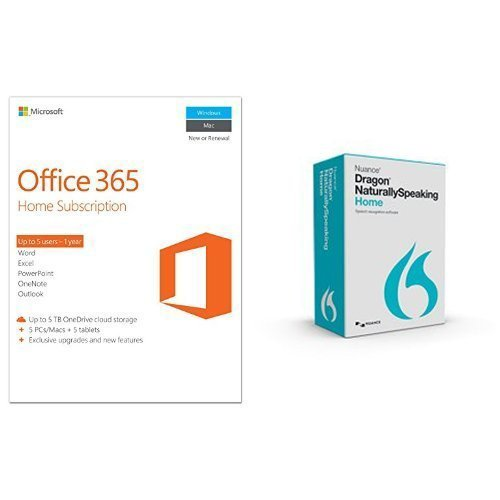 bundle dragon naturallyspeaking home 13 with microsoft office 365 home 1 year 5 pc