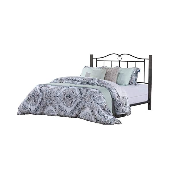 Hillsdale Dumont Metal Queen Headboard with Double Arched Scroll Design and Wood Posts with Frame, Textured Black