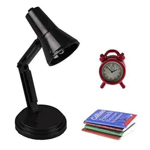 - Dengguoli Six-Piece Set 1/12 Dollhouse Miniature Metal Alarm Clock LED Desk Reading Lamp Toy Cute Doll House Mini Book Notebook Magazine
