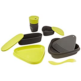 Light My Fire 8-Piece BPA-Free Meal Kit 2.0 with Plate, Bowl, Cup, Cutting Board, Spork and More 8 8-piece designer mess kit for stowing and serving food on the go; Contents store compactly inside bowl and lid Includes: 1 lid/plate, 1 plate/bowl, 1 SnapBox original, 1 SnapBox oval, 1 Pack-up-Cup, 1 strainer/cutting board, 1 Spork original, and 1 Harness Waterproof SnapBoxes have tight-fitting, snap-lock lids; Pack-up-Cup expands to drink and collapses to carry