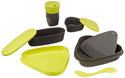 Light My Fire 8-Piece BPA-Free Meal Kit 2.0 with Plate, Bowl, Cup, Cutting Board, Spork and More 1 8-piece designer mess kit for stowing and serving food on the go; Contents store compactly inside bowl and lid Includes: 1 lid/plate, 1 plate/bowl, 1 SnapBox original, 1 SnapBox oval, 1 Pack-up-Cup, 1 strainer/cutting board, 1 Spork original, and 1 Harness Waterproof SnapBoxes have tight-fitting, snap-lock lids; Pack-up-Cup expands to drink and collapses to carry