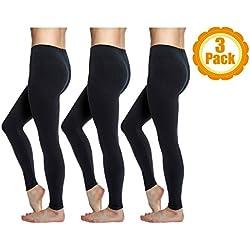 Love Charm Women's Super Soft Full Length Basic Leggings, Black (3-pack) S/M (Ladies 4-8)