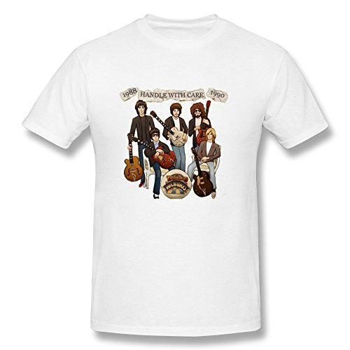 LANFENG Men's Traveling Wilburys Handle With Care T-shirt White