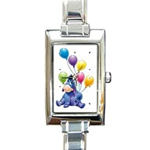 Eeyore Happy Birthday Rectangular Italian Charm Watch with Stainless Steel 16 Link Wrist Strap Pooh Bear Winnie the Pooh