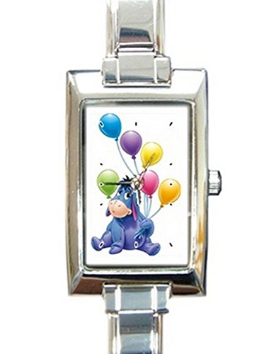 Eeyore Happy Birthday Rectangular Italian Charm Watch with Stainless Steel 16 Link Wrist Strap Pooh Bear Winnie the Pooh Band 9mm Italian Charm Watch