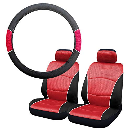 UKB4C Red & Black Steering Wheel & Front Seat Cover set for Saab 9-5 95 All Models: