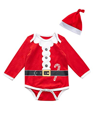 Baby Boys Girls Outfit Set Christmas Santa Claus Costume Bodysuit with Hat (3-6 Months) Red