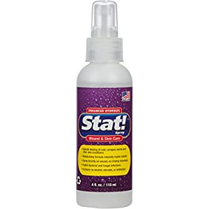 Stat! Spray Pet Wound & Skin Care with Enhanced Hydrogel; First-Aid Treatment for Dogs, Cats & Horses, Speeds Healing Cuts, Bites, Scratches & Rashes, Relieves Hot Spots, Itching, Chewing (4 fl. oz.)