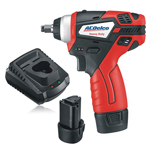 "ACDelco 3/8"" Power Impact Wrench 90ft-lbs LED Light Cordless Li-ion 12V Max Compact Tool, Kit with 2 Batteries, Charger, G12 Series – ARI12104"