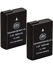 BM Premium 2 Pack of EN-EL14A Batteries for Nikon D3100, D3200, D3300, D3400, D3500, D5100, D5200, D5300, D5500, D5600, DF, Coolpix P7000, P7100, P7700 Digital SLR Cameras