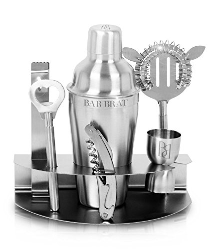 Premium 7 Piece Cocktail Making Set & Bar Shaker Kit by Bar Brat ™ / Free 130 Cocktail Recipe (ebook) Included / Pre-Built Stainless Steel Stand For All Your Bar Pieces