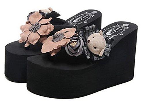 Mamilove Womens Chunky High Platform Wedge Flip-Flops Sandals 7 Black-2