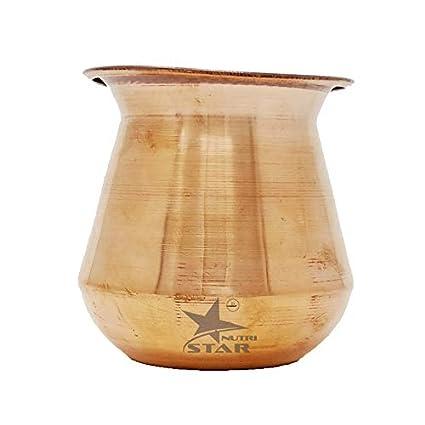 Nutristar Pure Copper Marwadi Lota Kalash Pot |900 ML| Used