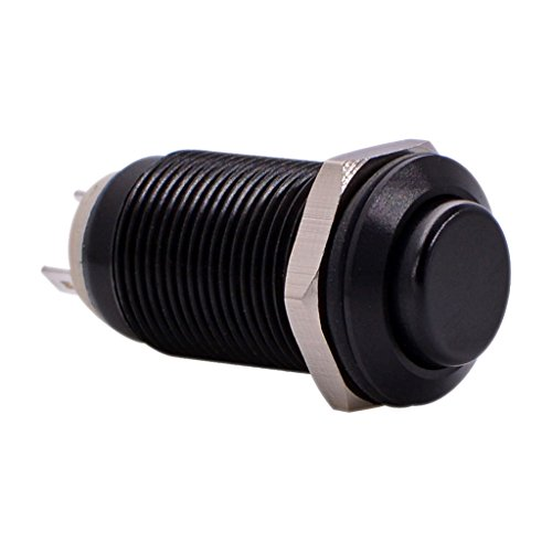 URTONE Latching Push Button Switch, UR129, 1NO ON/OFF DC/AC 36V 2A Aluminum Alloy Metal Shell Suitable for 12mm 1/2
