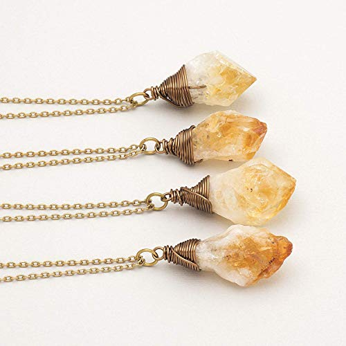 Raw citrine antique bronze long chain pendant necklace 24 in